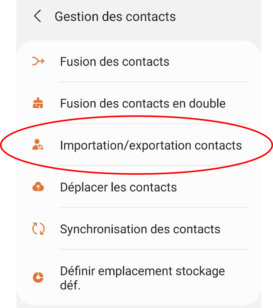exporter contacts android